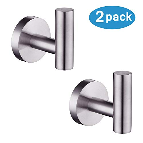 Nolimas Bathroom Towel Hooks SUS 304 Stainless Steel Coat Hook Round Clothes Towel Coat Robe Hook Cabinet Closet Door Sponges Holder for Bath Kitchen Garage Hotel,Wall Mounted, Brushed Nickel, 2Pack