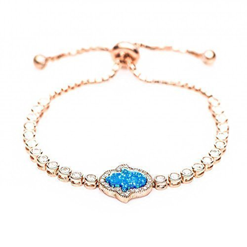 Rose Gold Hamsa + Blue Opal Bracelet Yoga Inspired Hand of Fatima Adjustable Size For Women & Girls