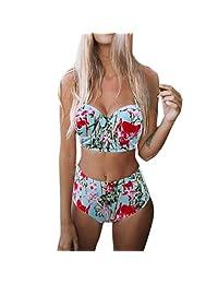 DUGUE Bikini Mujer Trajes de Baño con Relleno Push-Up Acolchado Bra Tops y Braguitas Bikini Sets Flor