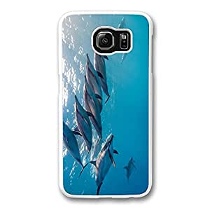 Brian114 Samsung Galaxy S6 Case, S6 Case - Ultra Fit Hard Back Case Cover for Samsung Galaxy S6 Dolphins Chasing Underwater High Quality White Hard Case Bumper for Samsung Galaxy S6
