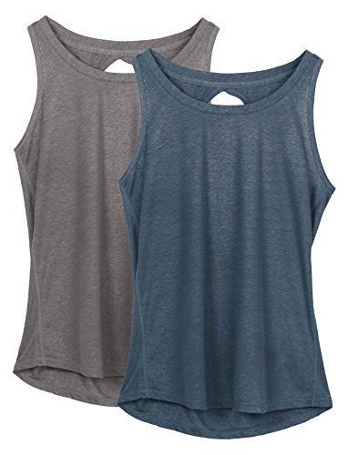 icyzone Yoga Tops Activewear Workout Clothes Open Back Fitness Racerback Tank Tops for Women(S,Grey/Navy) ()