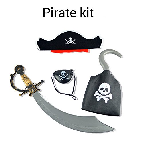Charmly Halloween Party Pirate Costume Set Pirate Role Play with Headwear, Sword, Eye Patch and Hook]()