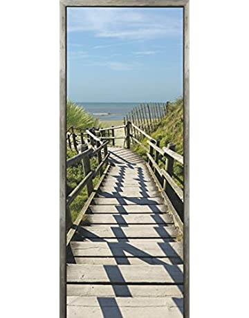 Plage Hacia la Playa Trampantojo de Puerta, Vinilo, Multicolor, 83x204 cm
