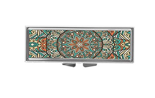 Aaron Melvin Floral Mandala Art Pattern 3-Compartment Decorative Pocket Gift Box Case Organizer for Pill Box