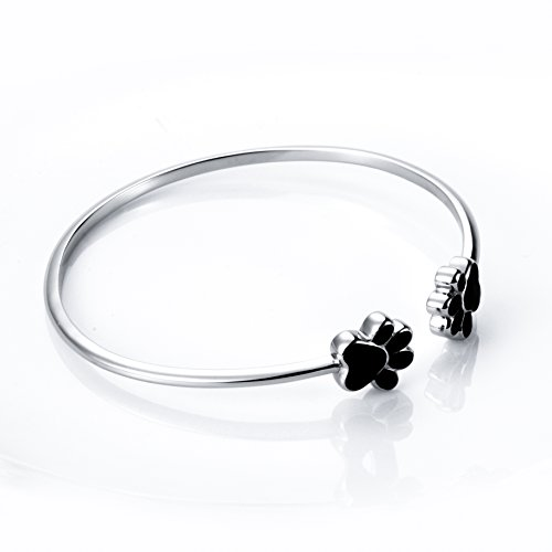 S925 Sterling Silver Cat Dog Puppy Paw Open Bangle Bracelet for Women