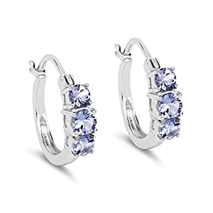 Johareez 1.58 cts Tanzanite .925 Sterling Silver Rhodium Plated Earrings for Women