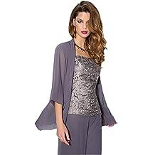 Kelaixiang Lace Flower Women Pant Suits Square Neck Shirt Shawl