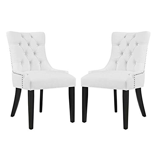 White Accent Chair Set (Modway Regent Modern Elegant Button-Tufted Upholstered Vinyl Two Dining Side Chair Set With Nailhead Trim in White)