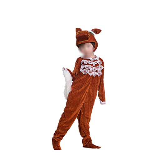 Children's Animal Performance Halloween Cosplay Jumpsuit Costume Long Sleeve,Brown Horse Long,170cm ()