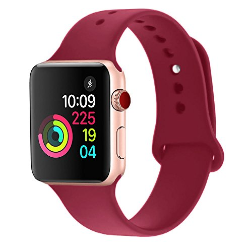 Sworddy Sport Band for Apple Watch 38MM,Soft Silicone Replacement for Apple Watch Series 3/2/1 [S/M Size in Rose Red Color]