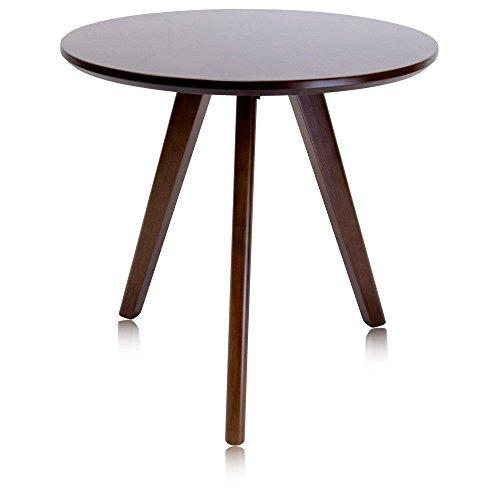 krei hejmo Solid Wood Coffee Tea Sofa Side Table (101-Round, Dark Brown)