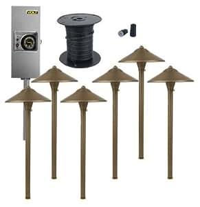 Brass LED Landscape Lighting Kit | (6) Path Kit