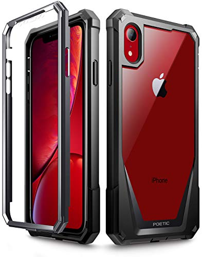 iPhone XR Case, Poetic Guardian [Scratch Resistant Back] Full-Body Rugged Clear Hybrid Bumper Case with Built-in-Screen Protector for Apple iPhone XR 6.1