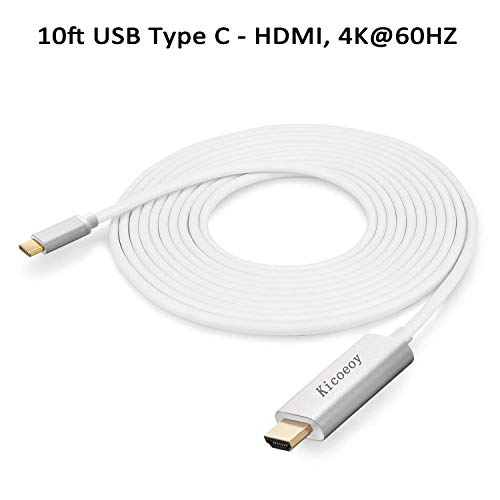 Price comparison product image USB C to HDMI Adapter Cable(4K@60Hz),  Kicoeoy 10ft USB Type C to HDMI Converter HDTV Cable Compatible with MacBook / MacBook Pro,  Google ChromeBook Pixel,  Dell XPS 13 / 15,  Samsung Galaxy S9 S8 (White)