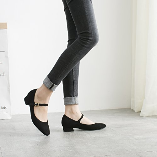 Dear Time Womens Chunky Heel Pumps Shoes Spring Suede Square Toe Buckle Casual Wedding Shoes Black f4KzTzvwye