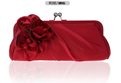 KLXEB La Chica Pack Hembra Móvil Paquete Paquete Florales Damasco Paquete De Cena Un Bolso De Mano Bolso De Mano Mujeres Hermosas Flores Paquete Cruz, Cuadrado Pequeño Paquete Cuadrado Bolsa Para Docu El vino es de color rojo