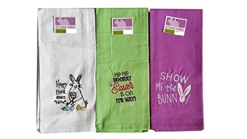 Set of 3 Easter Holiday Cotton Kitchen Tea Towels Embroidered Fun Colors with Fun (3 Piece Kitchen Tea Towel)