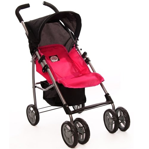 Pink Swivel Wheels Single Doll Stroller with Free Carriage Bag