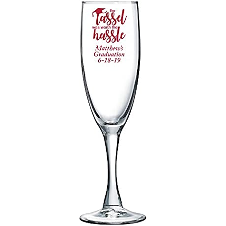 Personalized Color Printed Champagne Flute The Tassel Was Worth The Hassle Red 48 Pack