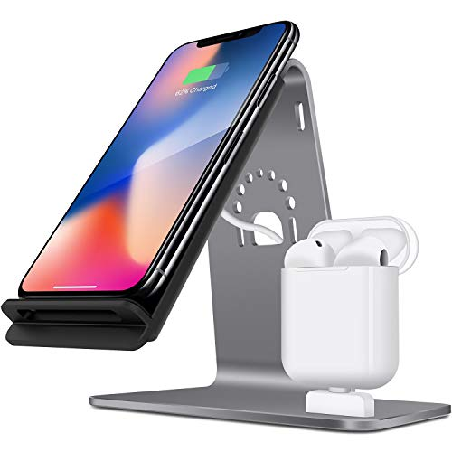 Bestand [2 in 1] Aluminum Charging Station for Airpods, Qi Fast Wireless Charger Dock for iPhone X/8 Plus /8/Samsung S8 and Other Qi-Enabled Devices, Grey(Airpods Charging Case NOT Included)-Grey