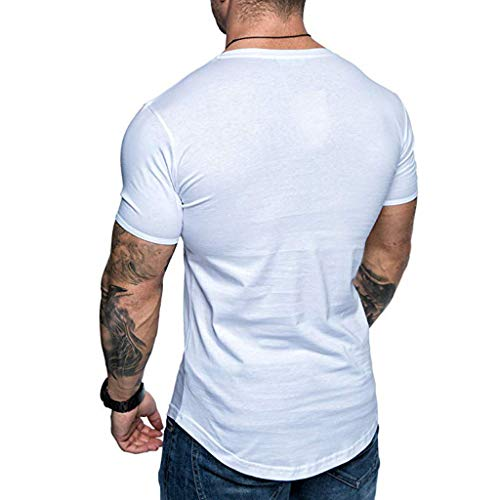 SIRIAY Men Shirts Summer Boy's Fashion Casual Letter Printed Short Sleeve Tee Shirt Tops Blouse White by SIRIAY Men Shirts (Image #1)