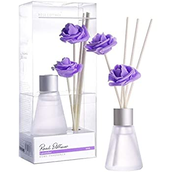 Rose Cottage 30ml Lavender Reed Diffuser Set with 30ml Essential Oil Refill for Bedroom Bathroom Living Room Office Gift Idea