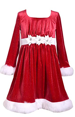 Bonnie Jean Red Holiday Velvet Sparkle Dress with Fur Trim for Toddler, Little and Big Girls (6X) 6x Girls Velvet Dress