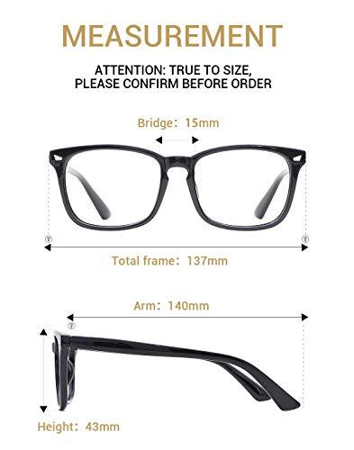7c098aa7ca TIJN Unisex Stylish Square Non-prescription Eyeglasses Glasses Clear Lens  Eyewear
