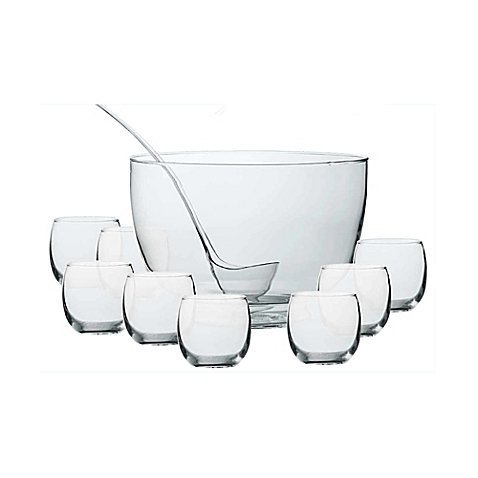 Intent 10-Piece Punch Bowl Set with Laddle, 10.5 Qt. Punch Bowl amd 11 Oz. Glasses by Dailyware by Dailyware