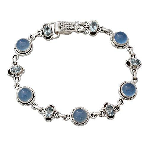 NOVICA Multi-Gem Chalcedony .925 Sterling Silver Link Bracelet, 7.75
