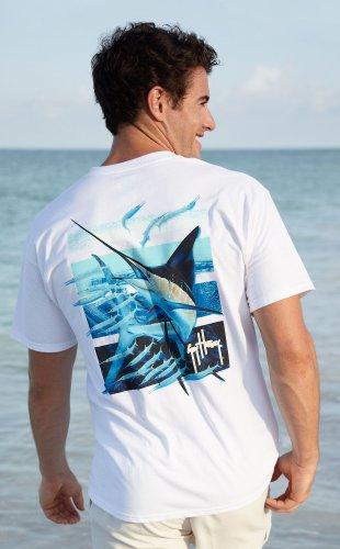 Guy Harvey Men's Ballyhoo T-Shirt, White, - T-shirt Mart White