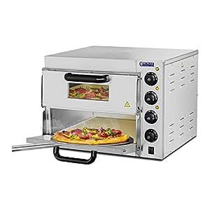 Royal Catering - RCPO-3000-2PS-1 - Horno para Pizza - 2 compartimientos - Arcilla refractaria 40x40x1,5cm - Envío Gratuito