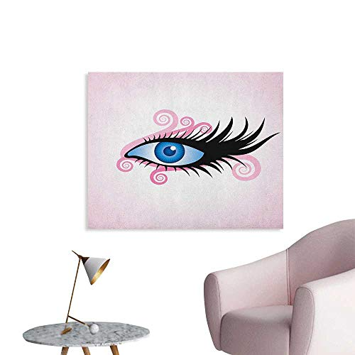 Anzhutwelve Eye Wall Paper Fantastic Gaze of a Woman in Graphic Style with Swirls Black Lashes on Pink Space Poster Pale Pink Black Blue W36 xL32
