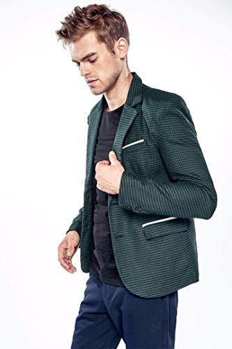 Suit Comode Uomo Fashion Overcoat Grid Giacche Taglie Fit Casual Hx Due Tuxedo Fascino Bottoni Blazer Grün Tops Plaid Da Slim Abiti Jacket Pxqzd