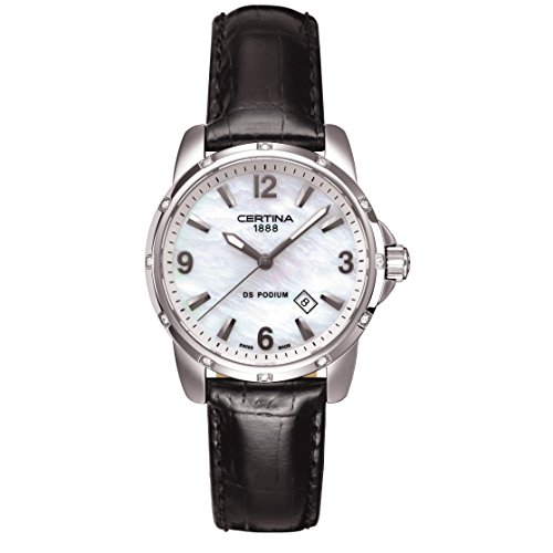 Certina Women's DS Podium Black Leather Band Steel Case Quartz MOP Dial Analog Watch C001.210.16.117.10
