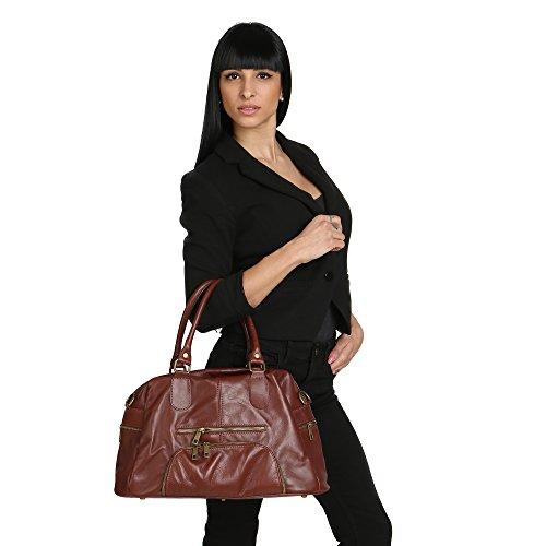 en à Cm main Borse avec véritable en épaule Sac cuir 47x29x21 Femme Chicca Fabriqué Marron Italie Cxft6Pqx