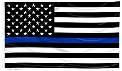 Thin Blue Line American Flag   3 X 5 Ft With Grommets