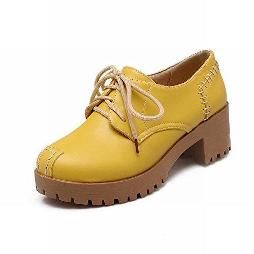 Carol Scarpe Moda Donna Lace-up Comfort Casual Piattaforma Chunky Mid Heel Oxford Scarpe Gialle