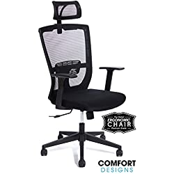 Premium High Back Mesh Office Chair by Comfort Designs | Ergonomic Desk Chair, Lumbar Back Support with Headrest | Commercial Grade | Self Adjusting Synchro Tilt Control | Limited