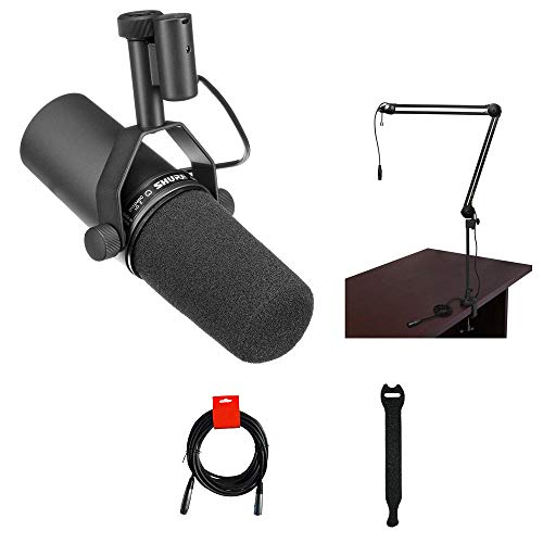 Shure SM7B Cardioid Dynamic Vocal Microphone with Two-Section Broadcast Arm, XLR Cable & 10-Pack Straps Bundle