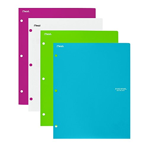 Five Star 2 - Pocket Folder, Stay-Put Tabs, Plastic, Teal, White, Berry, Lime, 4 Pack (38060)