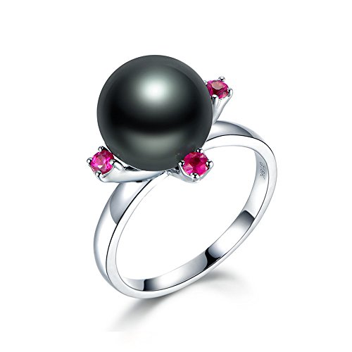 (10mm Cultured Tahitian Black Pearl Pink Tourmaline Engagement Ring Solid 14k White Gold Solitaire)