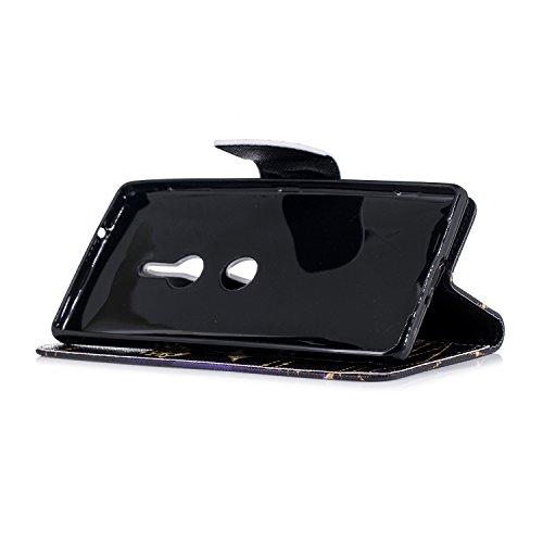 Funda para Sony Xperia XZ2 , IJIA Mariposa TPU + PU Ranuras para Tarjetas de Crédito Flip Folio Caja [Estilo Libro,Soporte Plegable ] Cover Tapa Caso Parachoques Carcasa Cubierta para Sony Xperia XZ2
