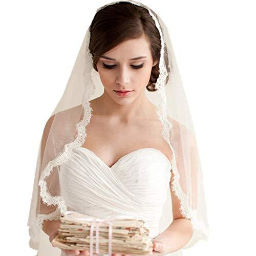 (Borje 1 layer Lace Edged Waist Length Bridal Veil with Comb Wedding Veils)