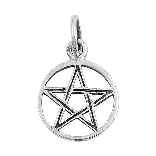 Glitzs Jewels Sterling Silver Devil Star Pendant 14mm