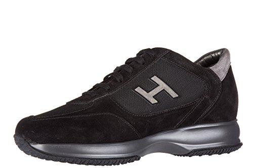 Hogan Scarpe Sneakers Uomo camoscio Nuove Interactive h Flock Etichetta Nero