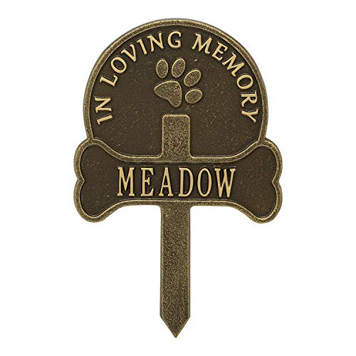 (Whitehall Paw and Bone Personalized Pet Memorial Yard Sign - Remembrance Grave Marker and Garden Stake - Antique Brass)