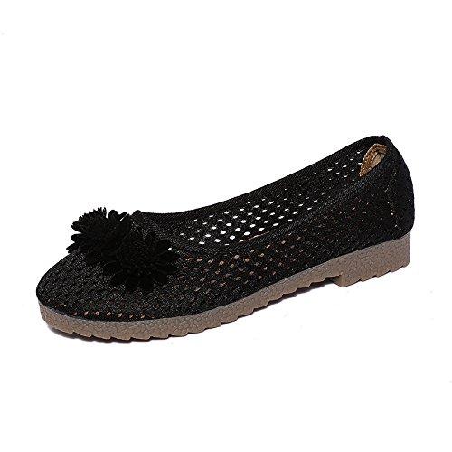 DYF Le donne di ricamo scarpe nudo stile nazionale carni bovine tendine piatto fondo MomBlack