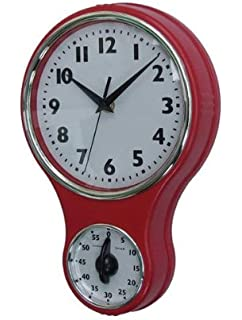 Lilyu0027s Home Retro Kitchen Timer Wall Clock, Bell Shape Red