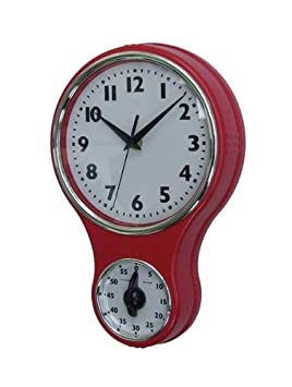 Lily's Home Retro Kitchen Timer Wall Clock, Bell Shape Red